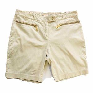 "MICHAEL Kors Khaki Bermuda 7"" Shorts Gold Size 12"